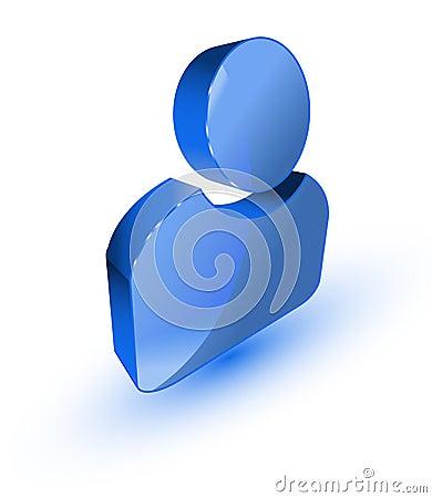 Blue user profile symbol