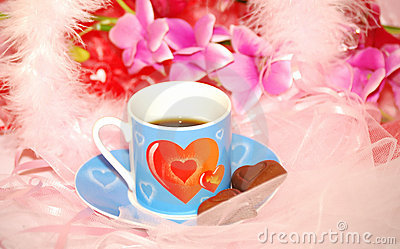 Blue valentines cup with chocolate