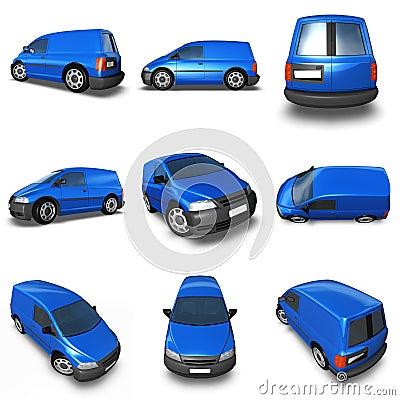 Blue Van 3d Model - Montage of images