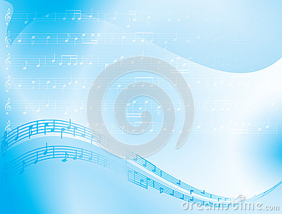 blue vector abstract background - music notes