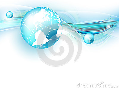 Blue vector background with globe. Eps10