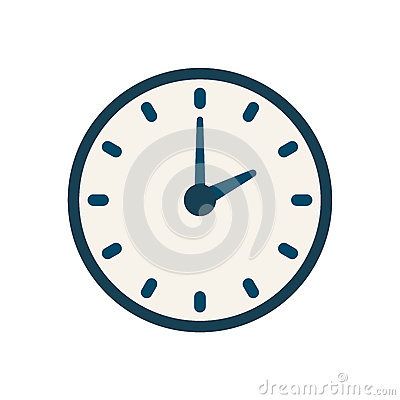 Free Blue Vector Clock Icon, Flat Linear Time Sign Royalty Free Stock Photo - 92364485