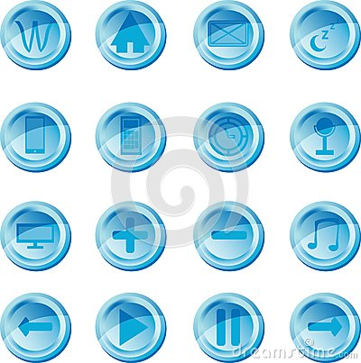 Blue vector set of buttons for web