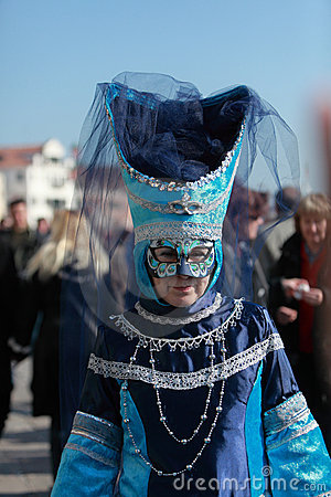 Blue Venetian costume Editorial Photo