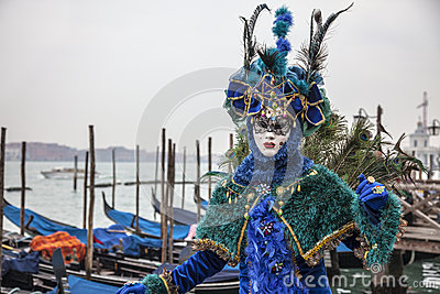 Blue Venetian Disguise Editorial Photo