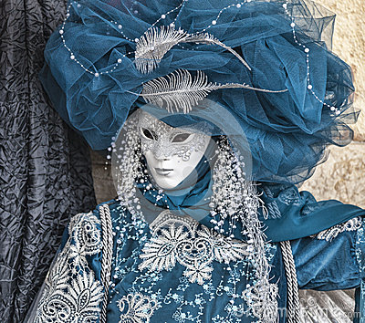 Blue Venetian Disguise Editorial Stock Image