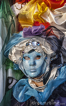 Blue Venetian Mask Editorial Stock Photo