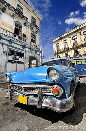 Blue vintage car in havana street