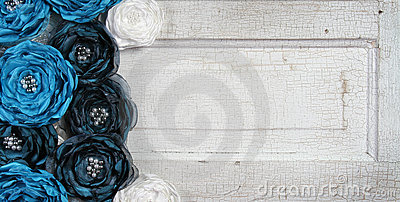 Blue vintage flowers on an old door