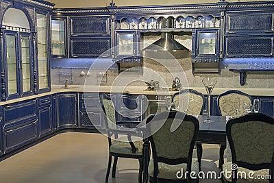 Blue vintage kitchen furniture