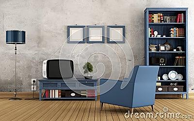 Blue vintage living room