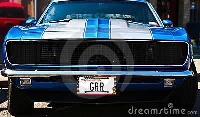 Blue Vintage Muscle Car