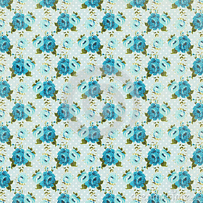 Free Blue Vintage Retro Rose Floral Background Repeating Pattern Royalty Free Stock Images - 37229609