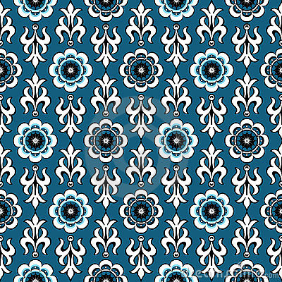 Blue vintage seamless pattern