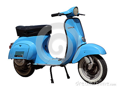 Blue vintage Vespa scooter Editorial Photo