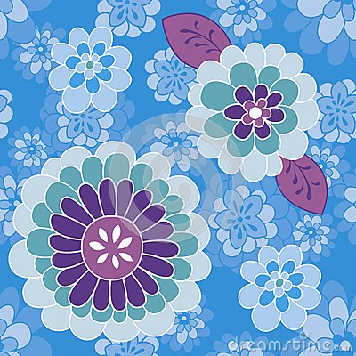 Blue violet flower pattern