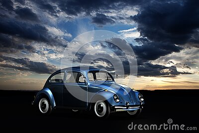 Blue Volkswagen Beetle Under Blue Sky And White Clouds During Golden Hour Free Public Domain Cc0 Image