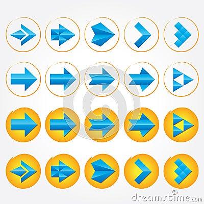 Blue volumetric arrows. Arrow sign icon set.