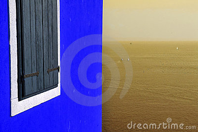 Blue wall and sepia sea