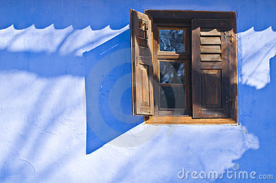 Blue wall with window