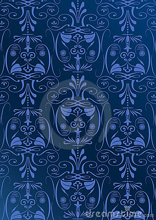 Blue wallpaper with arabesques