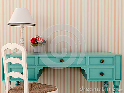Blue wark table and chair