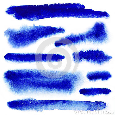 Blue watarcolor paint strokes