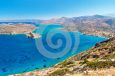Blue water of Mirabello bay on Crete