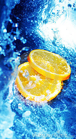 Blue water with oranges