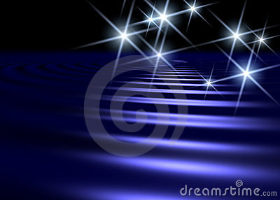 Blue water surface background with white star shap