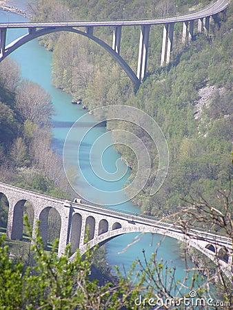 Blue water under the bridges