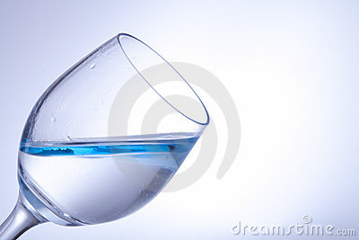 Blue water in a wine-glass