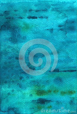 Blue watercolor background. Marine texture, turquoise. Stock Photo