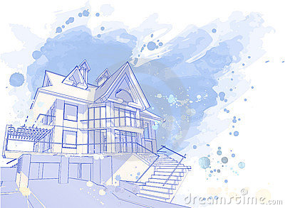 Blue watercolor house