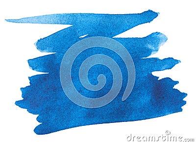 Blue watercolor paint stroke