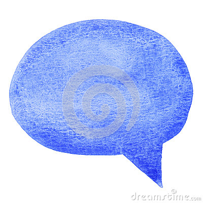 Blue watercolor speech bubble