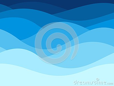 Blue waves pattern. Summer lake wave, water flow abstract vector seamless background Vector Illustration