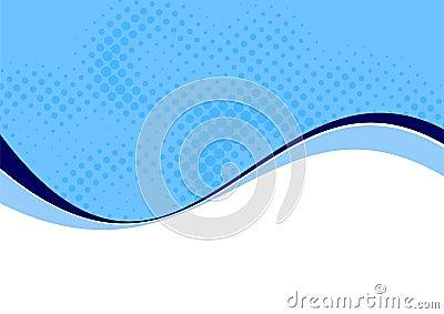 Blue wavy curves on white