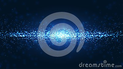Blue wavy and shining abstract particles background. Dynamic particle explosions background from the arrangement of millions of Vector Illustration
