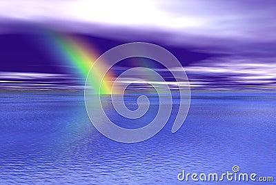 Blue wayter and rainbow