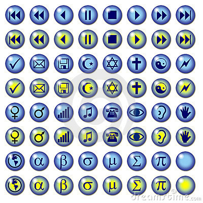 Blue Web Buttons with Misc symbols