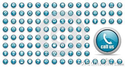 Blue web icons set