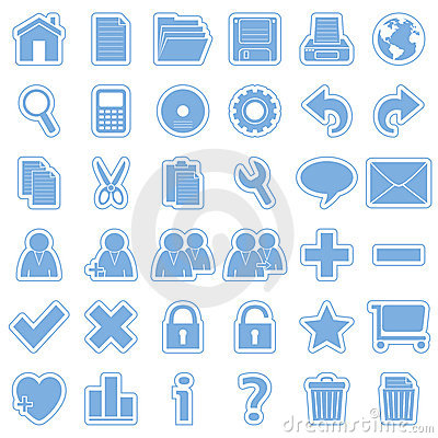 Blue Web Stickers Icons [1]