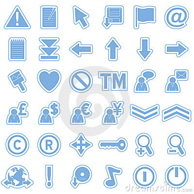 Blue Web Stickers Icons [2]