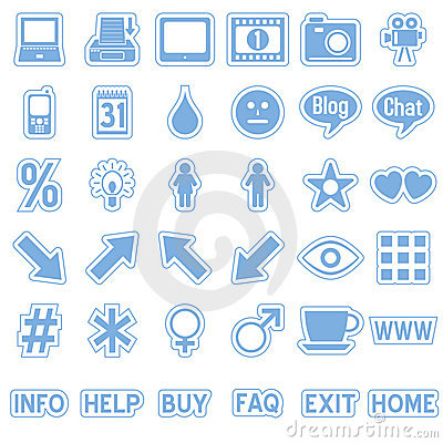 Blue Web Stickers Icons [4]