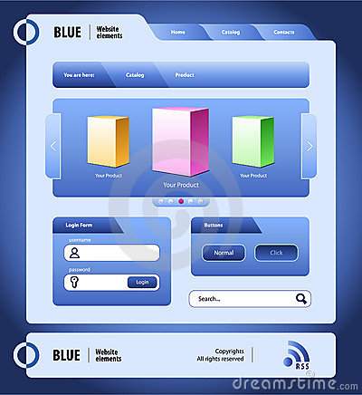 Blue Website Design Elements