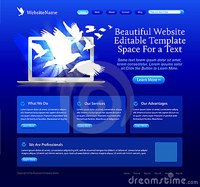 Blue website with doves