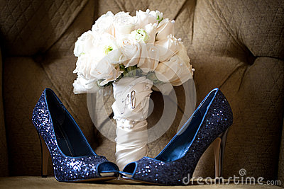 Blue Wedding Shoes white rose bouquet