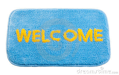 Blue welcome doormat
