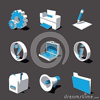 Free Blue-white 3D Icon Set 02 Royalty Free Stock Photo - 3092795